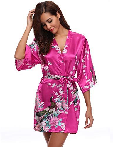 Aibrou Damen Morgenmantel Kimono Robe Bademantel Schlafanzug Nachtwäsche Kurz aus Satin mit Peacock und Blüten Rot M
