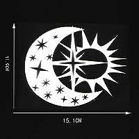 車の装飾 ビニールデカール壁画日ムーンスター昼と夜ブラック/シルバーの15.1X11.9CMカーステッカーデザインアート ビニールステッカー (Color Name : Silver)