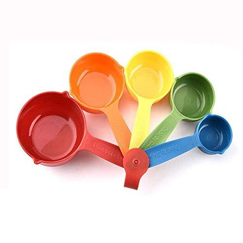 YLJYJ 5 Pcs/Set Colorful Plastic Kitchen Measuring Cups Handle Sugar Cake Baking Spoon Household Measuring Scoop Kitchen Tools
