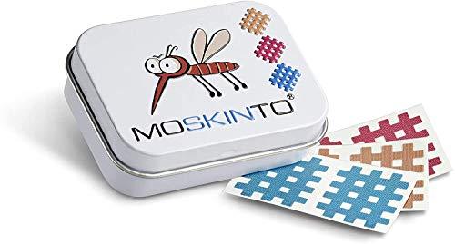 Moskinto Mückenpflaster Familienpackung mit 42 bunten Pflaster in der Dose Juckreiz, Stechmücken, Bremsen, Bienen, Schnaken, Mückenstiche, Bite, Moskito, Stichheiler (Dose)