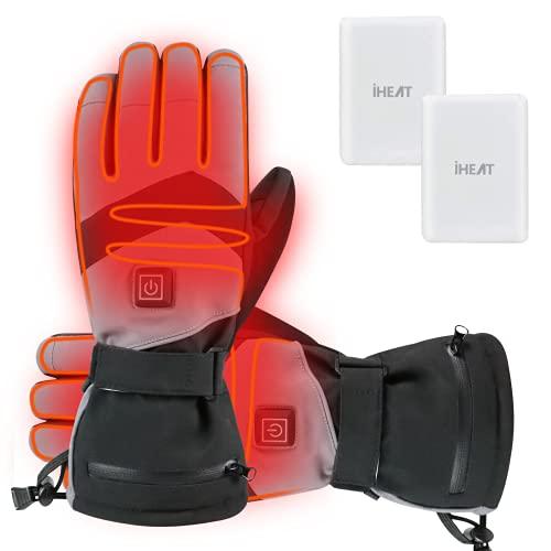 Beheizte Handschuhe,4100mAh Heizung Handschuhe für Damen Herren,3 Heiztemperatur Einstellbare wasserdichte Touchscreen Beheizte Motorradhandschuhe für Outdoor Wandern Motorrad Camping