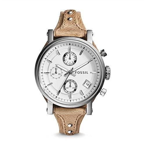 Fossil Damen Chronograph Quarz Uhr mit Leder Armband ES3625