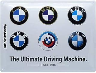 Nostalgic-Art Metalen Retro Bord, BMW – Logo Evolution – Geschenkidee voor liefhebbers van autoaccessoires, van metaal, Vi...