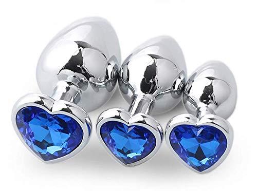 3 Piezas para Principiantes de Metal Dorado Bûtt Pl'ugs Adullt Gây Anâl Adullt Juguetes Juguetes Anâl Plūg Jewel Bûtt S & M Azul