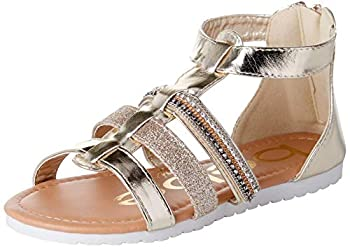 bebe Girls' Sandals - Glitter Strap Gladiator Sandals  Toddler/Little Girl/Big Girl  Size 8 Toddler Light Gold