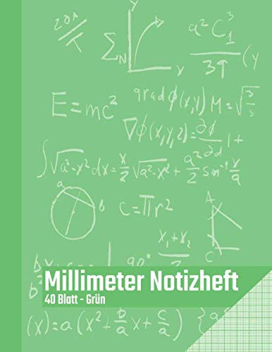 Millimeter Notizheft - 40 Blatt - Grün: Millimeterblock zum technischen Zeichnen | Zeichenblock für den Bürobedarf und Studium | Perfekt für ... Ingenieure und Studenten