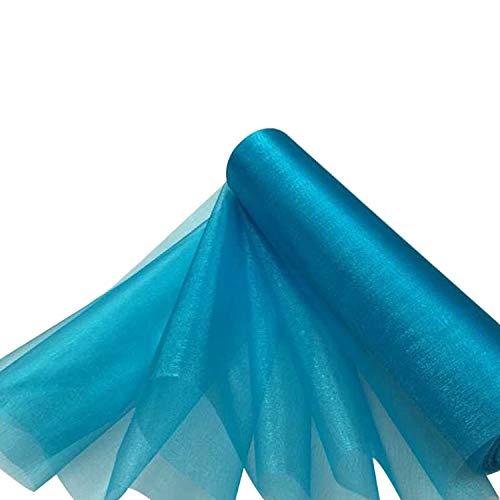 Trimming Shop Nieve Organza Fina Rollos Purpurina Tela para Boda Fiesta de Navidad Silla Cintos Caminos de Mesa Decoración 29cm X 25m - Azul Turquesa, 29CM
