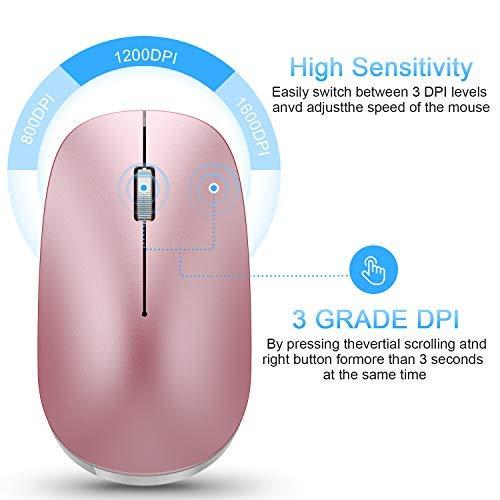 OMOTON Bluetooth Maus kompatible mit iPad Tablet(iPadOS 13/ iOS 13 oder höher System), kabllose Maus für Bluetooth-fähigen komputer,Laptops, PCs,Notebooks,Mac-Serien,Rose Gold