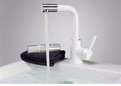 Grifo mezclador para lavabo Watertower, moderno con cuerpo de grifo de latón, 304 pintura de acero inoxidable en aerosol, taza de lavado de color blanco y negro, grifo de agua fría y caliente que se puede girar universal