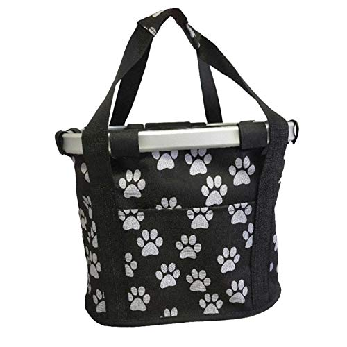 DIYHM Pet Bike Basket Removable Bicycle Handlebar Basket Folding Small Pet Cat Dog Carrier Cycling Front Bag Shopping Basket Bike Basket, Small Pets Cat Dog Folding Carrier (Color : Black)