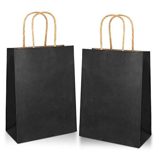 Gaoyong 20 Stück Papiertüten mit Henkel 27*21*11CM,Geschenktüten,Papiertüten,Schwarze Papiertüten,Kraftpapier tüten (verdicken 130gsm)