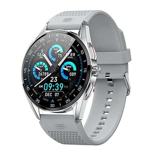Haowen M3 IP68 Impermeable 1.3 Pulgadas Reloj Deportivo Inteligente para Hombres Botón de rotación Gris Plateado Diámetro de la Esfera: 46 mm
