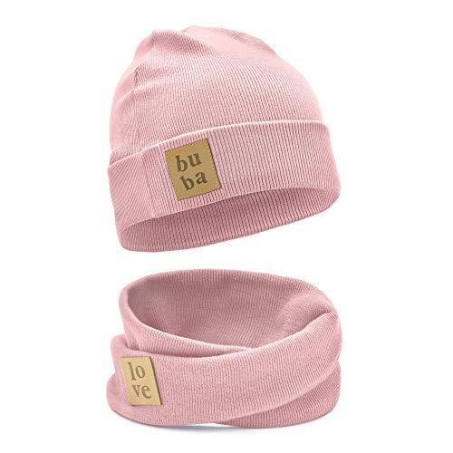 Bubalove - Kinder mütze mit loopschal Unisex Beanie Elastan Frühling (6 MTH - 5 Y)