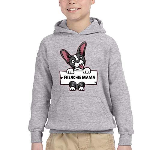 CaNaCa Frenchie Mama French Bulldog Toddler Boys Girls Sweater Hoodie Sweatshirt Winter Clothes 2-6t Gray