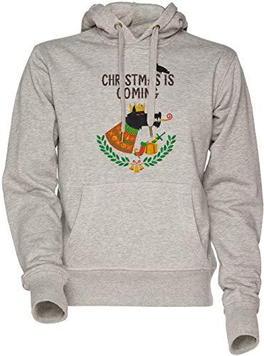 Navidad Es Viniendo Unisexo Hombre Mujer Sudadera con Capucha Gris Men's Women's Hoodie Sweatshirt Grey