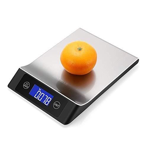 JKCKHA Función digital de cocina Escala de 10kg / 1g Con tara Alimentos pesaje electrónico balanza de precisión ultra-fina cocina que cocina Plataforma de acero inoxidable escala con monitor LCD adecu