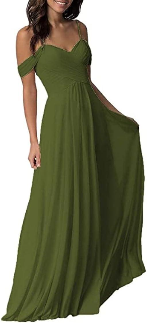 Women's Sweetheart Chiffon Wedding Bridesmaid Dress Long Cold Shoulder Pleated Formal Dress