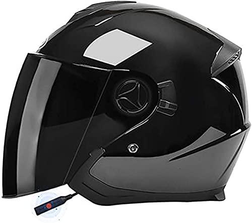 CHLDDHC Casco de motocicleta Jet Bluetooth para scooter, cascos abiertos, con doble visera antivaho, aprobado por la ECE, con micrófono integrado para adultos y hombres y mujeres