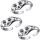 3 Pieces Crying Face Rings Fun Cartoon Sad Face Love Heart Finger Ring Adjustable Crying Face Open Ring for Women Girls Jewelry (Silver)
