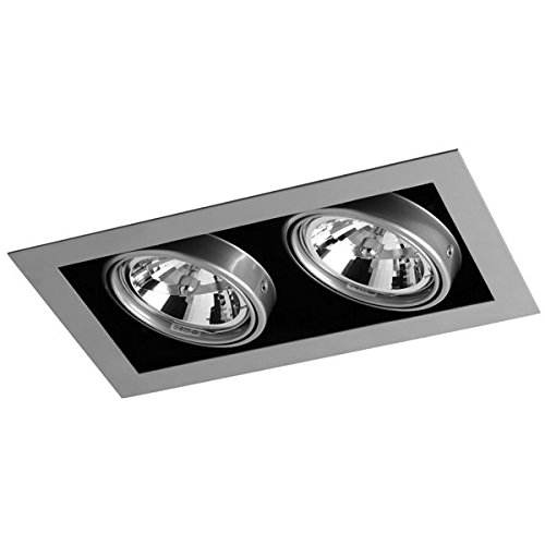 CristalRecord Kardan Tecno - Einbaustrahler, Stahlausführung, 2 Lampen AR111, 350 x 210 mm
