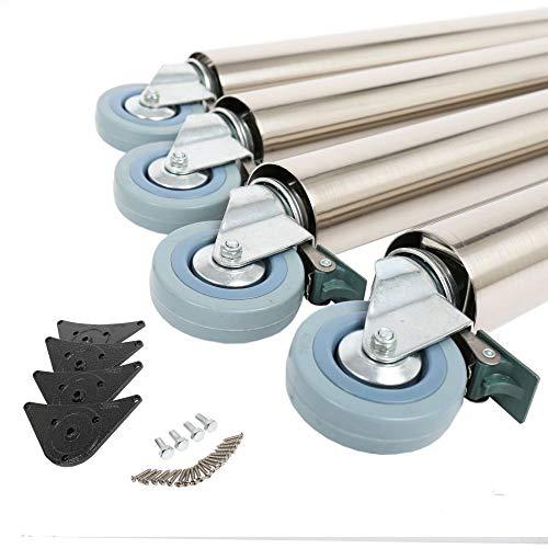 4er Set Tischbeine Tischfüße Möbelbeine 870mm ø 60mm auf Rollen mit Bremsen verschiedene Farben (Edelstahl Optik)