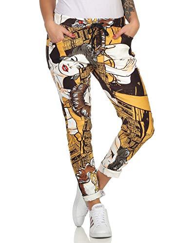 ZARMEXX Damen Baggy Casualpants Boyfriends Bequeme Jogpants Popart - Comic Print Muster 2 (36-40)