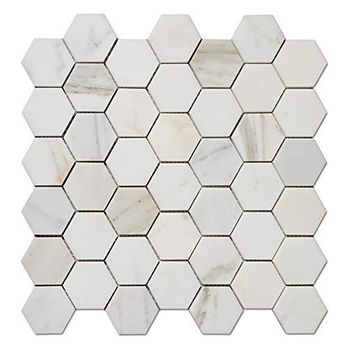 Diflart Calacatta Gold 5,1 cm Hexagon Marmor Mosiac Fliesen für Küche Backsplash Badezimmer Wand Dusche Boden poliert 5 Stück