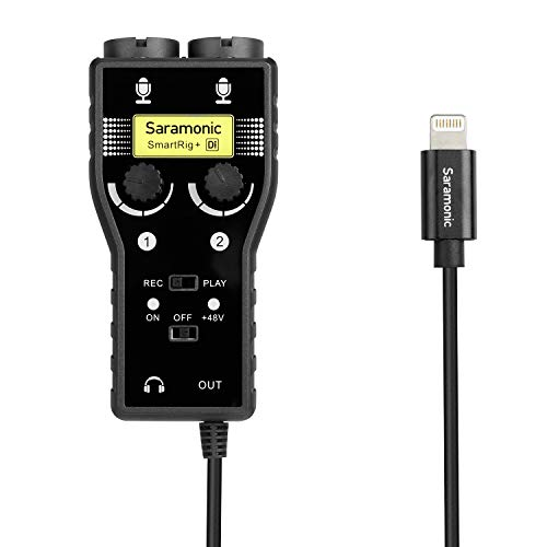 Saramonic SmartRig + Di 2-kanaals XLR en 6,3 mm gitaar audio-interface microfoon met Apple Lightning-connector voor iPhone 7 8 X, iPad, iPod, iOS Smartphone & tablet