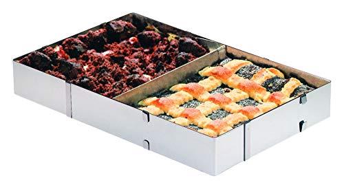 Westmark Kuchen-/Pizzarahmen, Backrahmen mit Teiler, Länge und Breite verstellbar, Rostfreier Edelstahl, Silber, 31322260
