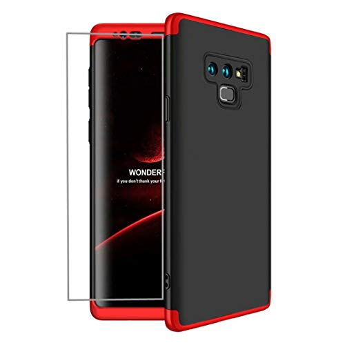AILZH Funda Samsung Galaxy Note 9 Cubierta de 360 Grados Caja protección de cáscara Dura Anti-Shock Anti-rasguño 360° Parachoques Caso Mate Bumper+ Protector de Pantalla dedicado(Rojo Negro)