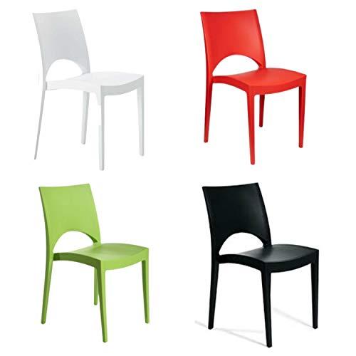 Set 4 sedie bianche, Sedia Paris, sedie da cucina 2 pezzi, sedie impilabili da interno, sedia polipropilene colorata, 80 x 41 x 43 cm (Bianco, 4)