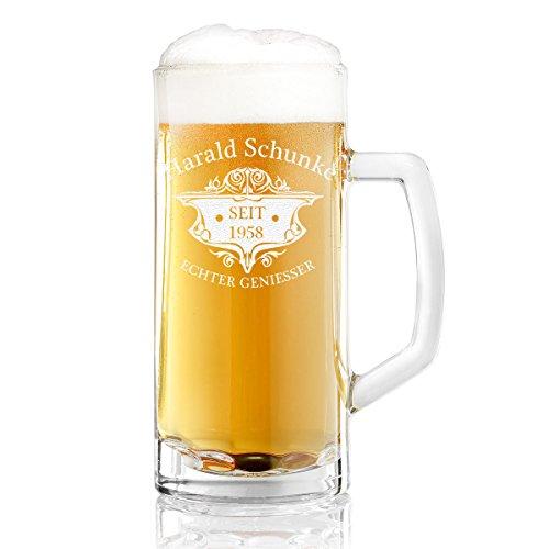 polar-effekt Bierkrug Personalisiert mit Gravur eines Namens und Jahreszahl – Bierseidel Geschenk-Idee zum Geburtstag - Motiv Wappen 0,5l