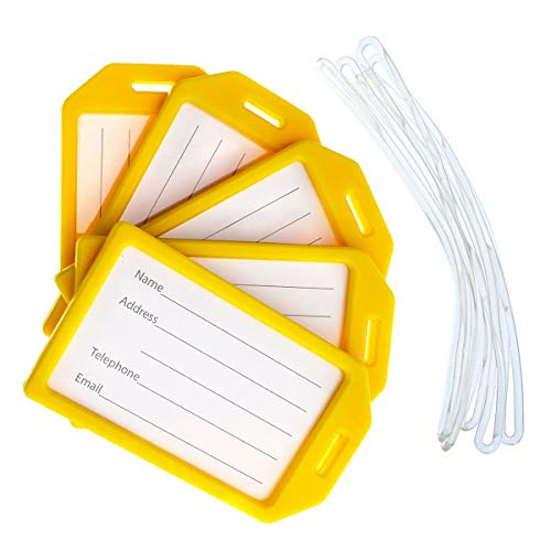5 Pack - Premium Rigid Airline Luggage Tag Holders with 6' Worm Loops - Heavy Duty Hard Plastic -Suitcase ID Tag Identifiers with Business Card Insert Window by Specialist ID (Yellow)