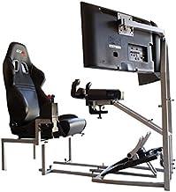 GTR–Asiento de simulador de vuelo CRJ modelo con asiento de piel sintética ajustable, Simulación de Vuelo Cabina con control dual Pantalla Plana y Triple o único soporte de monitor