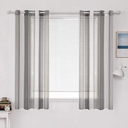 MIULEE Voile Vorhang Transparente Gardine aus Voile mit Ösen Schlaufenschal Ösenschals Transparent Fensterschal Wohnzimmer Schlafzimmer 175x140 cm, 2er Set Stripe