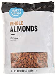 Happy Belly Whole Almonds feature a subtle, buttery flavor and just the right amount of crunch Packaging might vary California Select Sheller Run (SSR) grade almonds are unroasted, unsalted, and steam pasteurized Harvested in California's Central Val...
