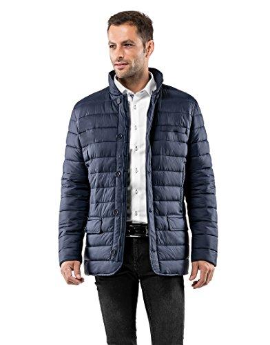 Vincenzo Boretti Herren Steppjacke im Blazer-Style Slim-fit tailliert Übergangs-Jacke leicht dünn weich warm gefüttert für Frühling Herbst modern elegant für Business Freizeit dunkelblau M