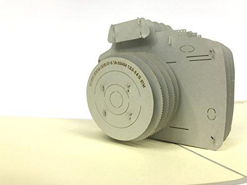 Verjaardagskaart: Grijze digitale camera 3D pop-up wenskaart, Kirigami Paper Craft Cadeau Celebration