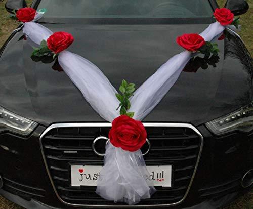 ORGANZA XXL ghirlanda per spose, coppia di orchidee, camelie, decorazione per matrimoni, auto, decorazione per auto (rosso/bianco)