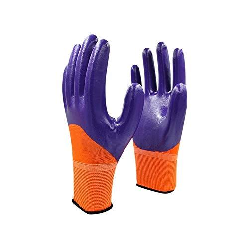 XIAOFENG-R Alto Rendimiento Guantes de protección Guantes de Trabajo de Seguridad con Recubrimiento de nitrilo púrpura anticorte.10 Pares Guantes Protectores (Color : Purple 12 Pairs, Size : S)