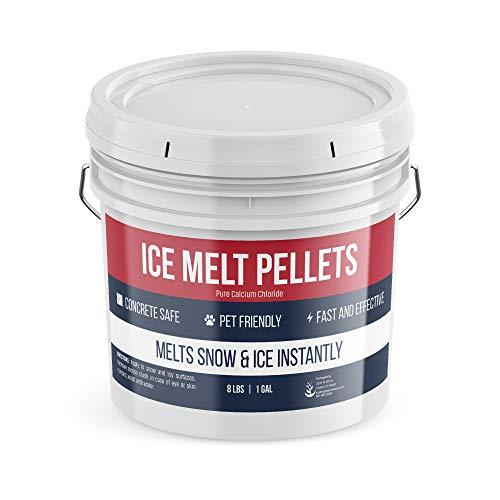 Pure Organic Ingredients Ice Melt Pellets (8 lb, 1 Gallon), 100% Pet Safe & Concrete Safe, Snow & Ice Melt, Calcium Chloride Pellets, Powerful & Fast Acting