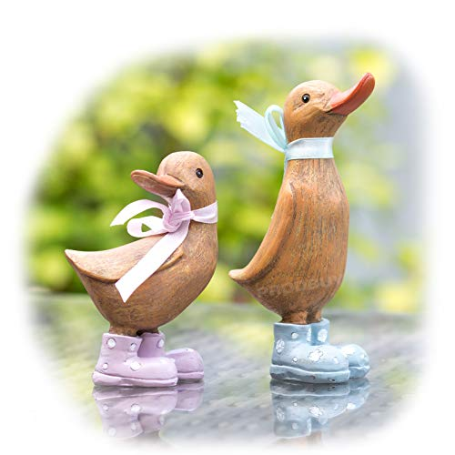 Prodbuy Set of 2 Baby Duckling Ornaments wearing Ribbons and Wellington Boots