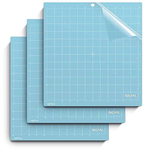 NICAPA Schneidematte für Silhouette Cameo 3/2/1 (Light-Grip, 12x12 Zoll 3er-Pack) Klebstoff & Klebrig rutschfest Flexibles Quadrat Gitternetz Blau Schnittmatten Ersatzzubehör Set Matten Vinyl Craft