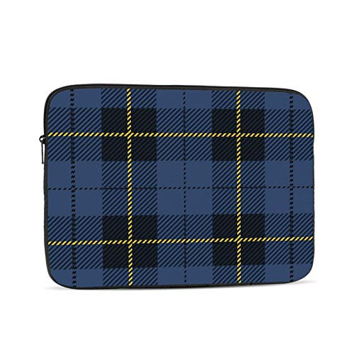 KXT Blue Yellow Tartan Plaid Laptop Sleeve Case,Briefcase Cover Protective Bag,Ultrabook Netbook Carrying Handbag for Women Men