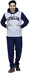 Men Off White Navy Hooded Stylish Full Sleeve Track Suit