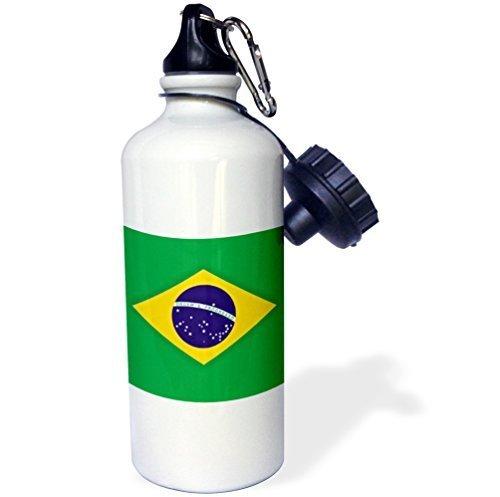 Cukudy sport waterfles cadeau voor kinderen meisje jongen, Braziliaanse vlag bestellen en vooruitgang in Brazilië roestvrij staal waterfles voor school kantoor reizen 21oz