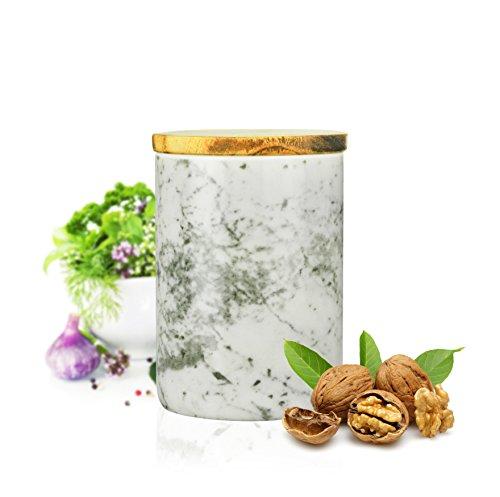 Sendez Vorratsdose 800ml mit Holzdeckel Gummidichtung Porzellan Vorratsbehälter Dose Marmor-Motiv #3