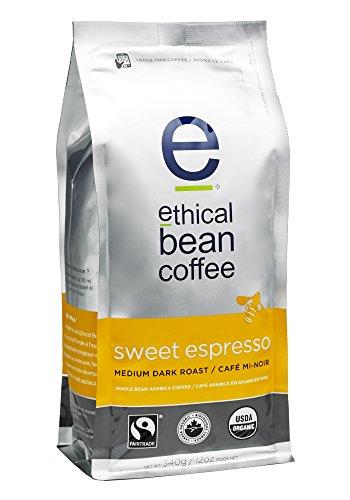 Ethical Bean Coffee Sweet Espresso: Medium Dark Roast Whole Bean- USDA Certified Organic Coffee, Fair Trade Certified - 12 oz bag