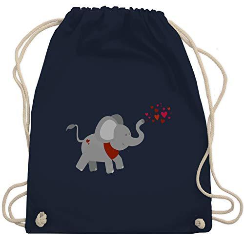 Shirtracer Tiermotiv Animal Print - Elefant- Herzchen - Unisize - Navy Blau - kinderturnbeutel - WM110 - Turnbeutel und Stoffbeutel aus Baumwolle
