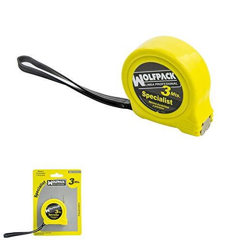 WOLFPACK LINEA PROFESIONAL 2300514 Flexometro Sin Freno 3 Metros/Ancho Cinta 16 mm